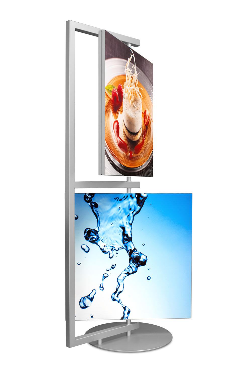 drehbarer Displayständer mit zwei Motivrahmen und unterschiedlichen Drucken