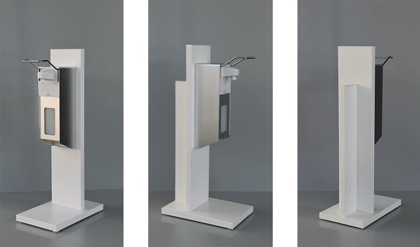 Desinfektionstischständer in drei unterschiedlichen Ansichten, Ausführung Spanplatte mit hochwertiger weißer Melaminbeschichtung