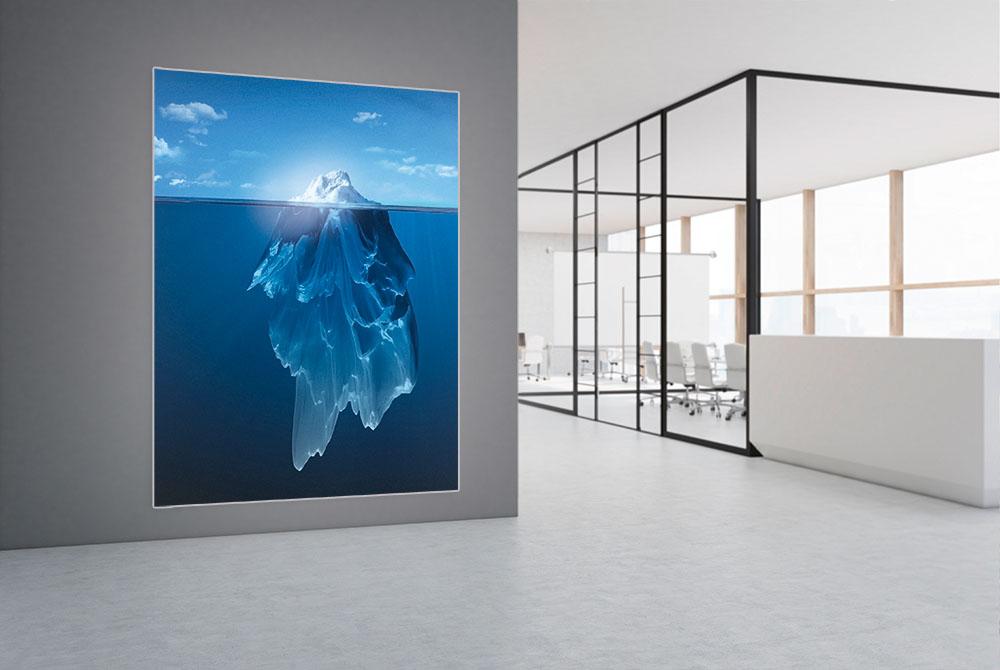 Leuchtkasten mit Textildruck Eisberg