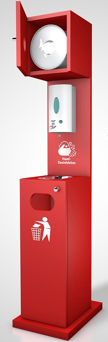 Desinfektionsstation mit Papierentsorgung und Feuchttücherbox