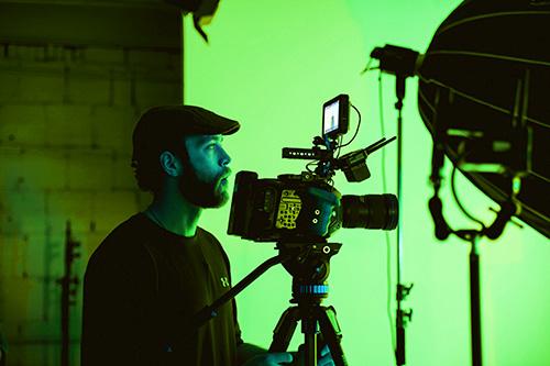 Greenscreen mit Kameramann